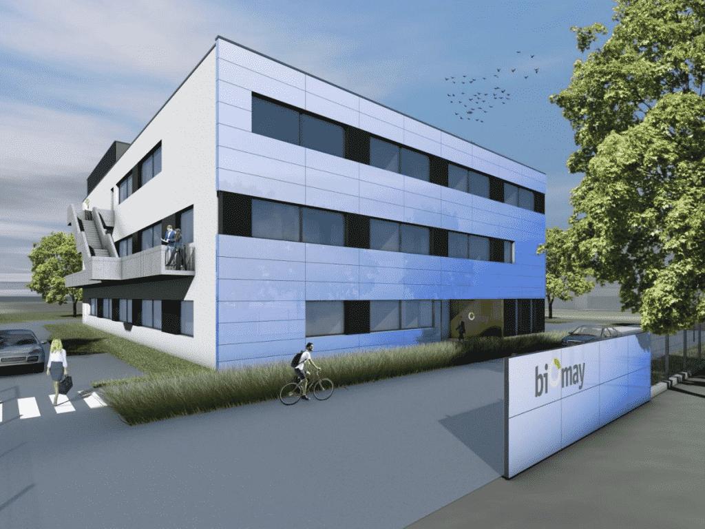 Visualisierung des neuen Produktionsgebäudes der Wiener Biomay AG | Grafik: Biomay