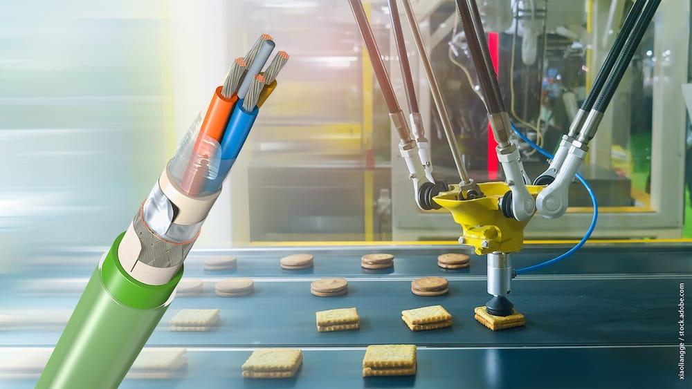 Neues Kabel mit Doppelmantel für den Einsatz in der Lebensmittelindustrie, die den höchsten Ansprüchen an Hygiene gerecht werden.   Foto: LEONI AG