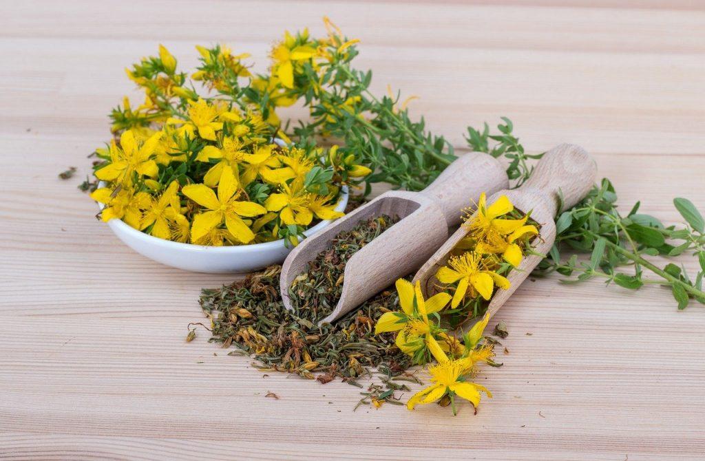 Getrockneten Blüten des Johanniskrauts, aus denen das Hypericin durch Extraktion gewonnen werden kann, als grüne und nachhaltige Alternative zu gängigen Katalysatoren | Foto: FinjaM, Pixabay